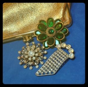 Green and Gold Vintage Corocraft Brooch